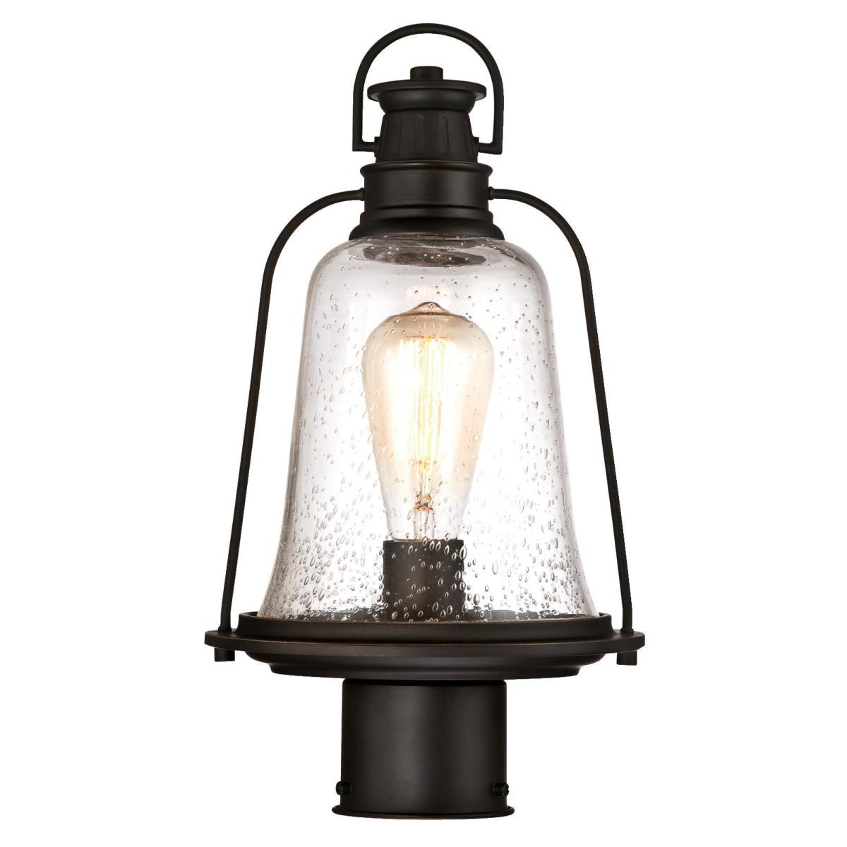 1 Light Post Top Fixture Oil Rubbed Bronze Finish with Highlights and Clear Seeded Glass