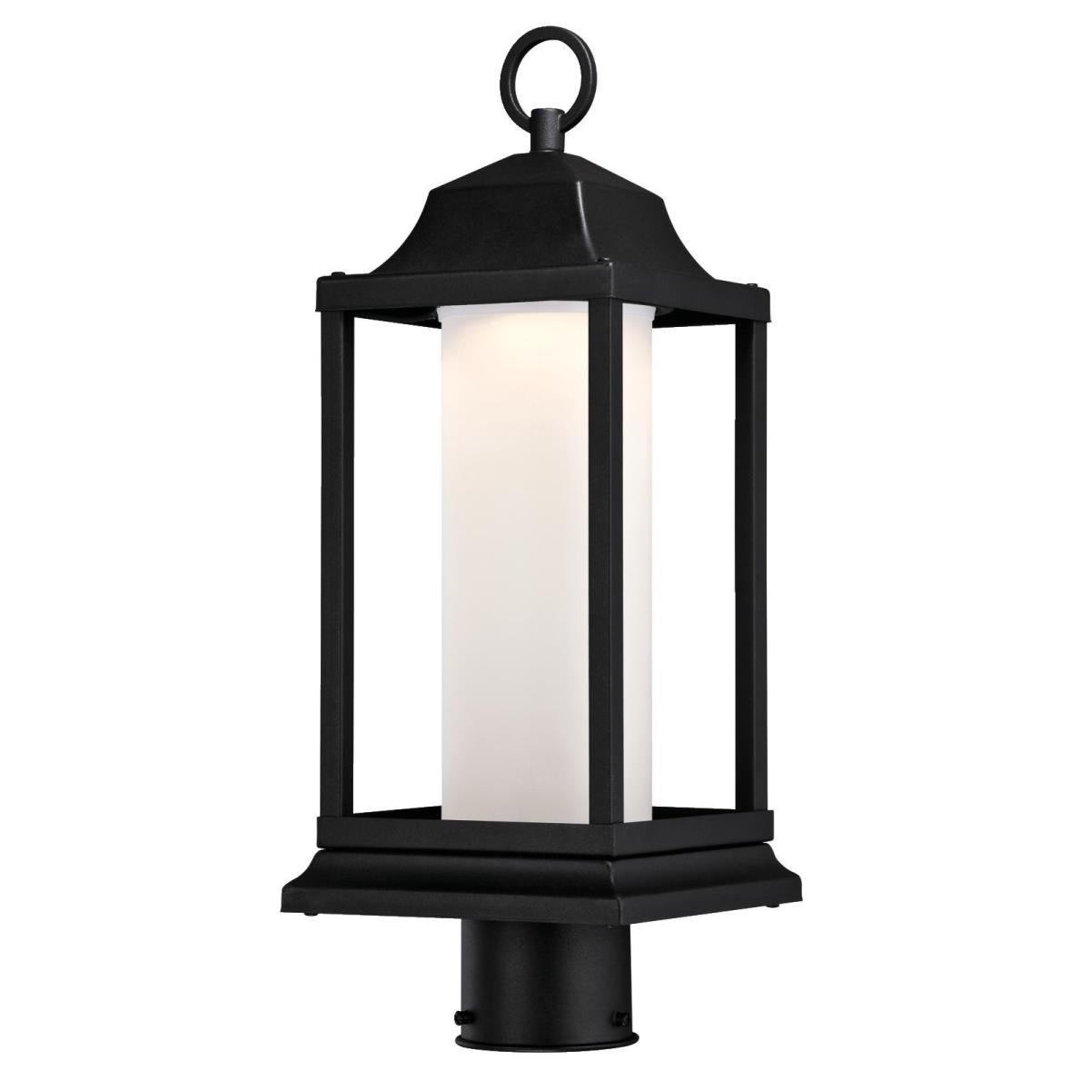 1 Light LED Post Top Fixture Textured Black Finish with Frosted Glass