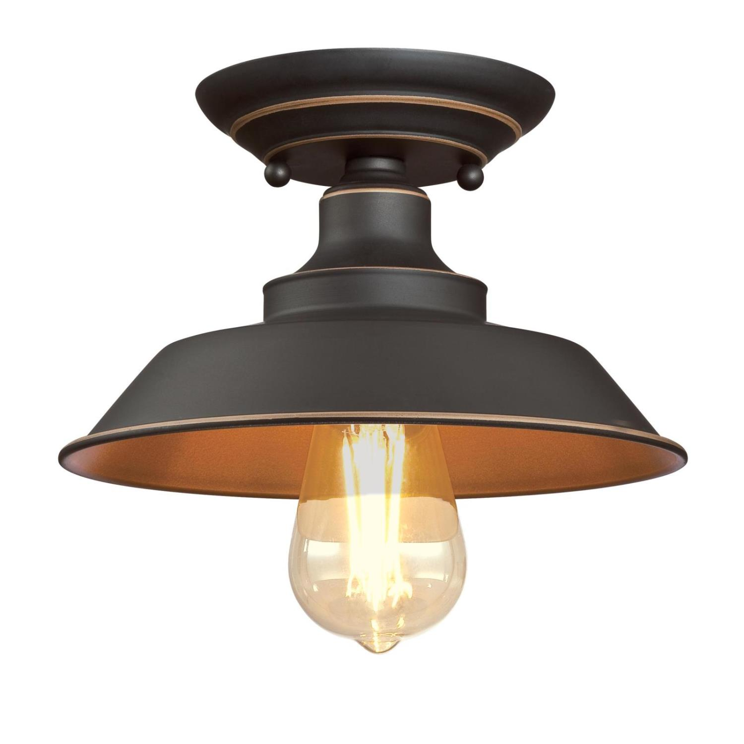 9 in. 1 Light Semi-Flush Oil Rubbed Bronze Finish with Highlights