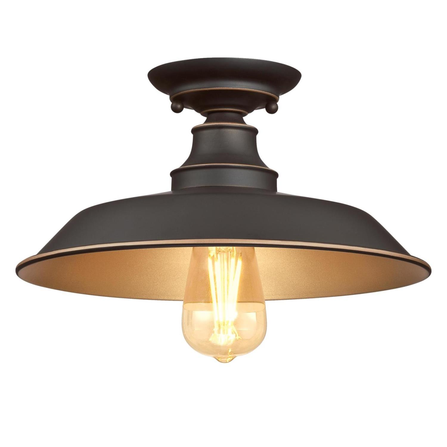 12 in. 1 Light Semi-Flush Oil Rubbed Bronze Finish with Highlights