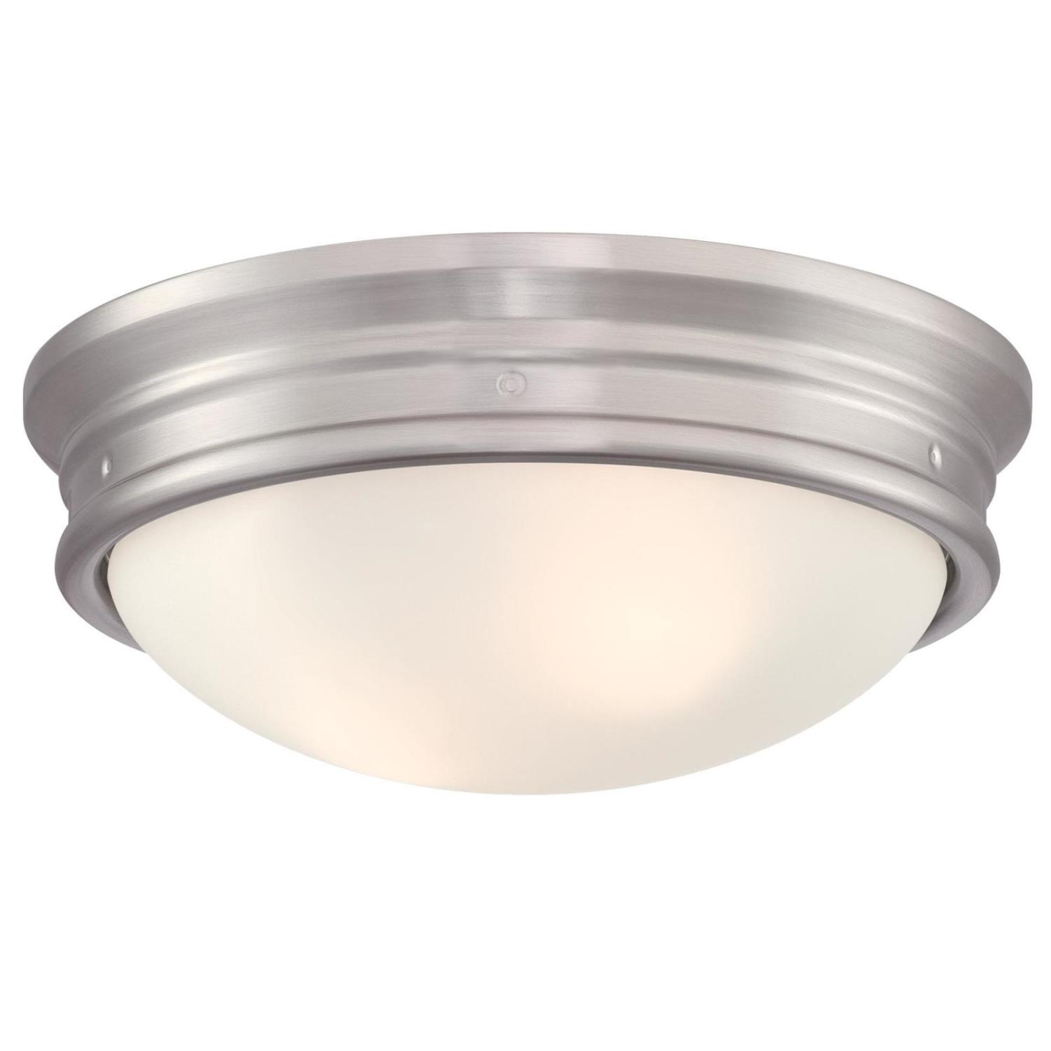 13 in. 2 Light Flush Brushed Nickel Finish with Frosted Glass
