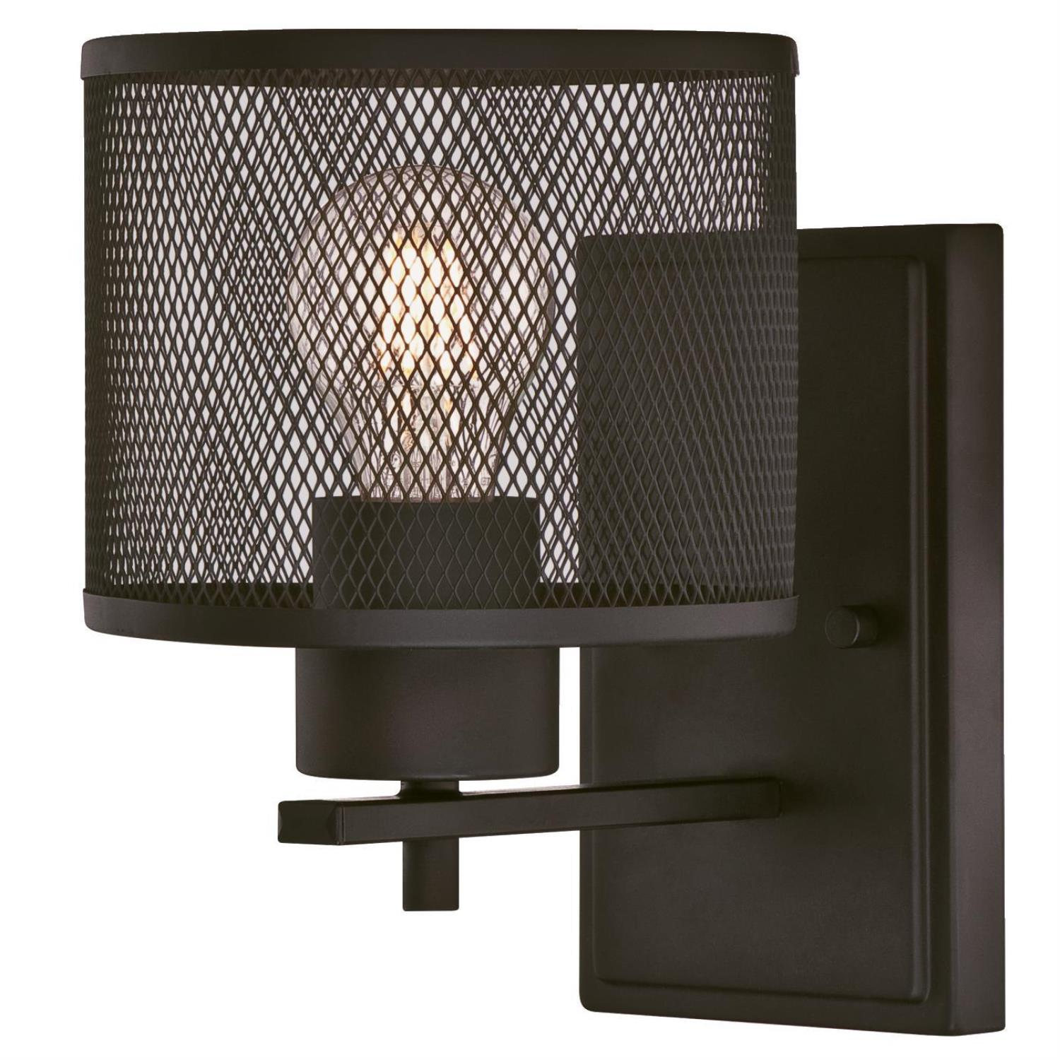 1 Light Wall Fixture Oil Rubbed Bronze Finish with Mesh Shade