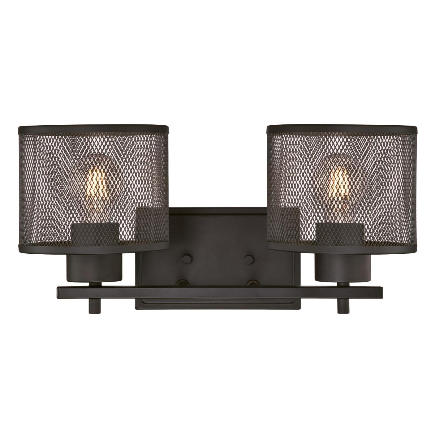 2 Light Wall Fixture Oil Rubbed Bronze Finish with Mesh Shades