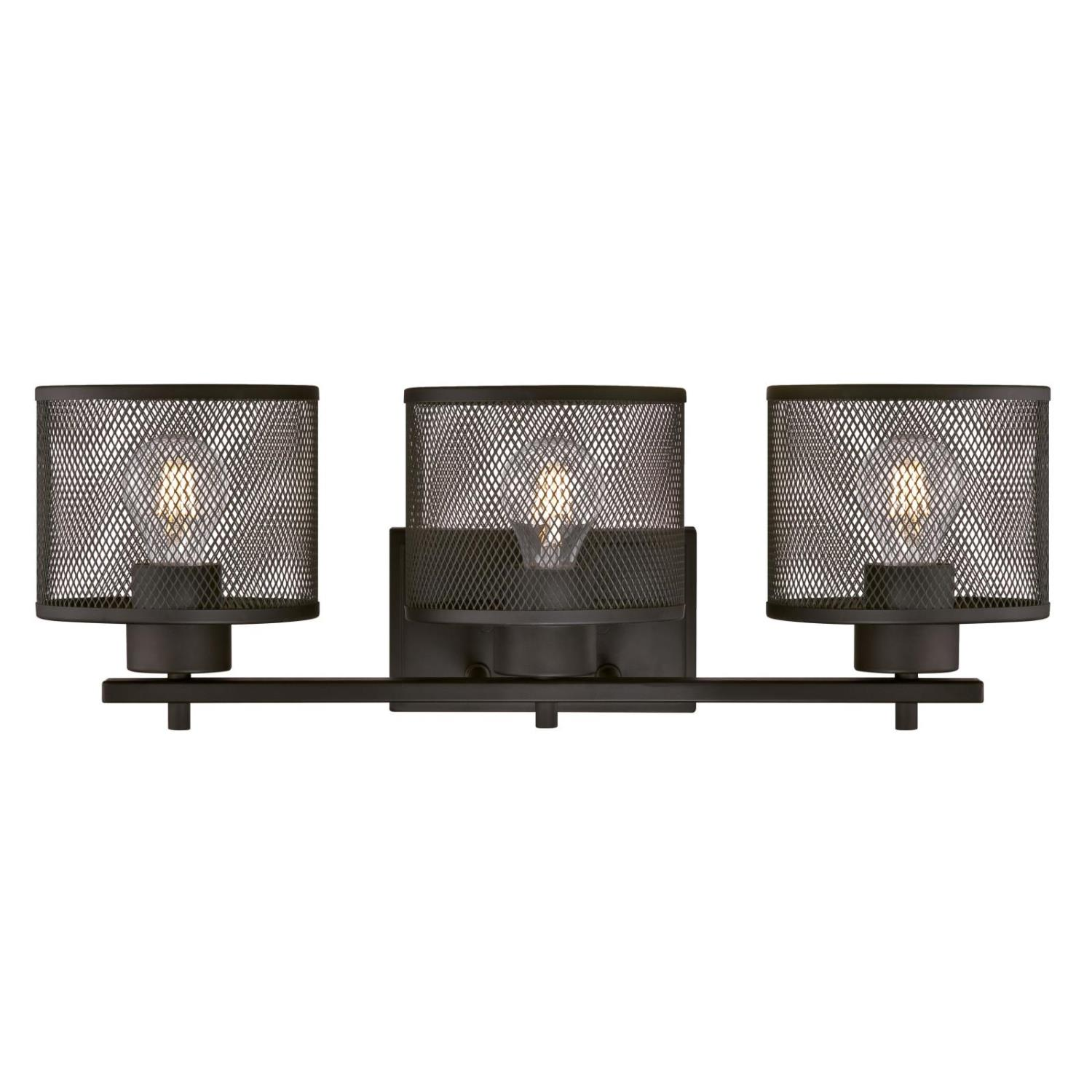 3 Light Wall Fixture Oil Rubbed Bronze Finish with Mesh Shades