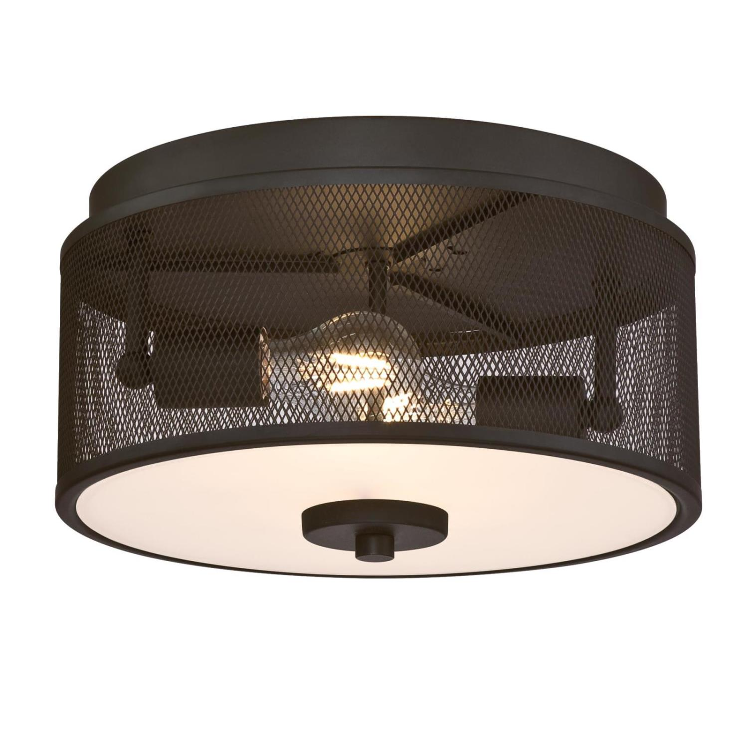 13 in. 2 Light Flush Oil Rubbed Bronze Finish with Mesh Shade and Frosted Glass