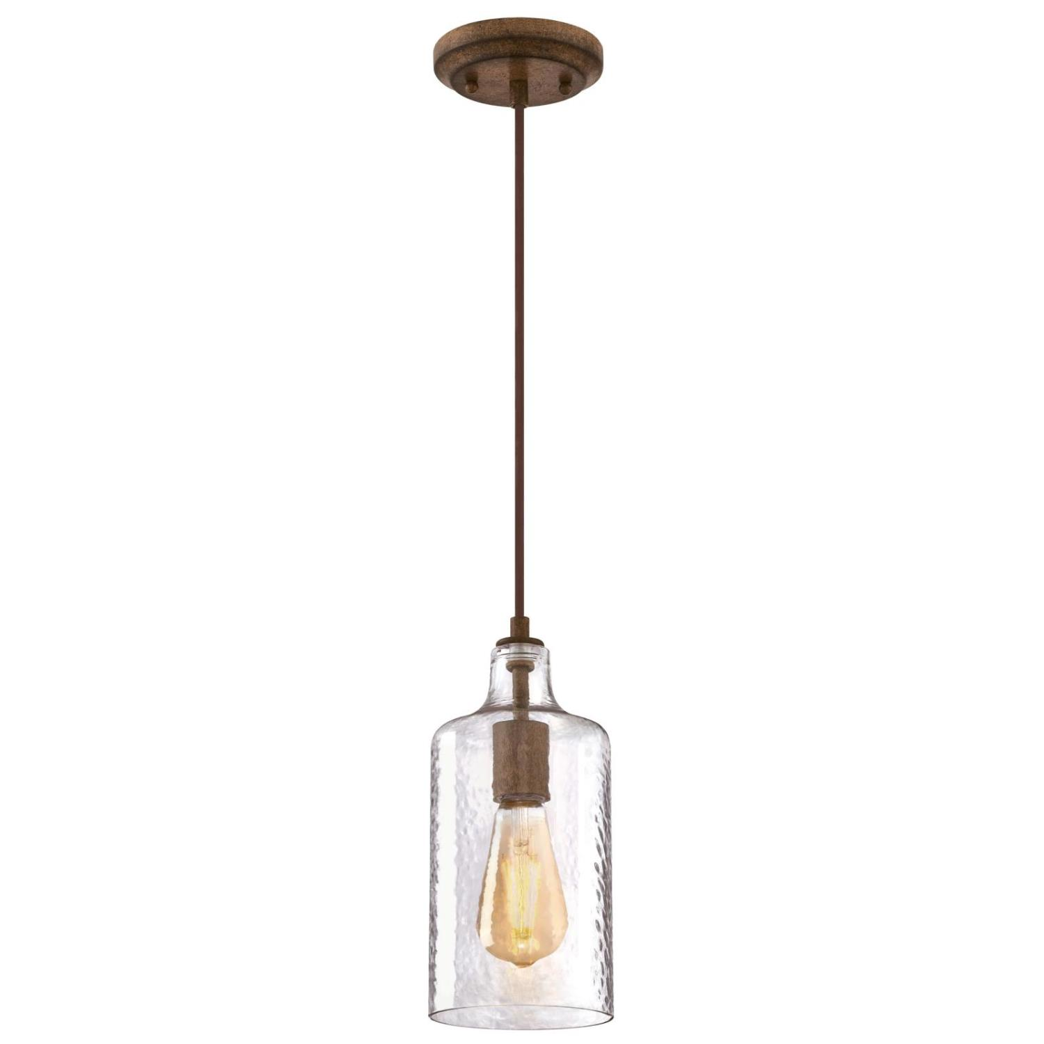 Mini Pendant Barnwood Finish with Clear Textured Glass