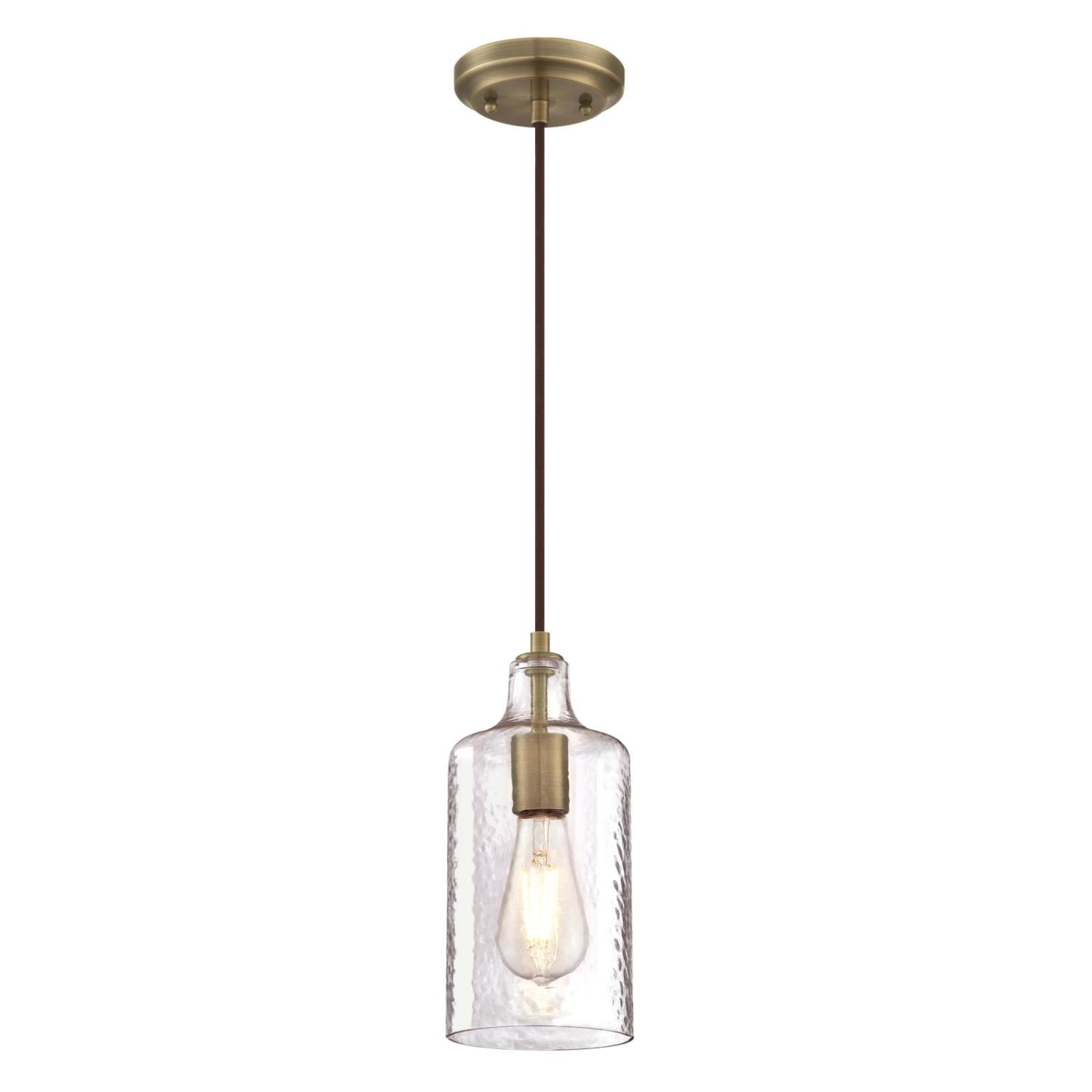 Mini Pendant Antique Brass Finish with Clear Textured Glass