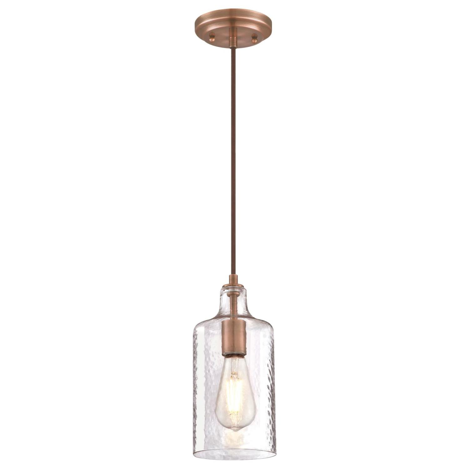 Mini Pendant Washed Copper Finish with Clear Textured Glass