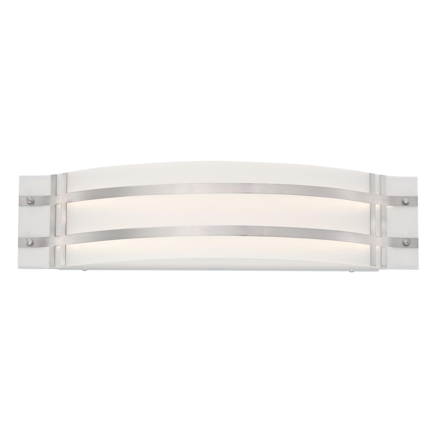 22W 1 Light LED Wall Fixture Brushed Nickel Finish with Frosted Glass