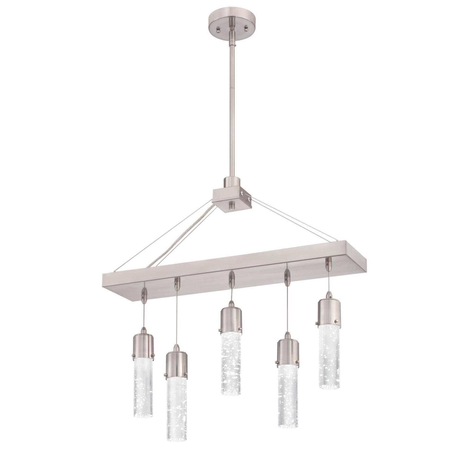 5 Light LED Chandelier Brushed Nickel Finish with Bubble Glass