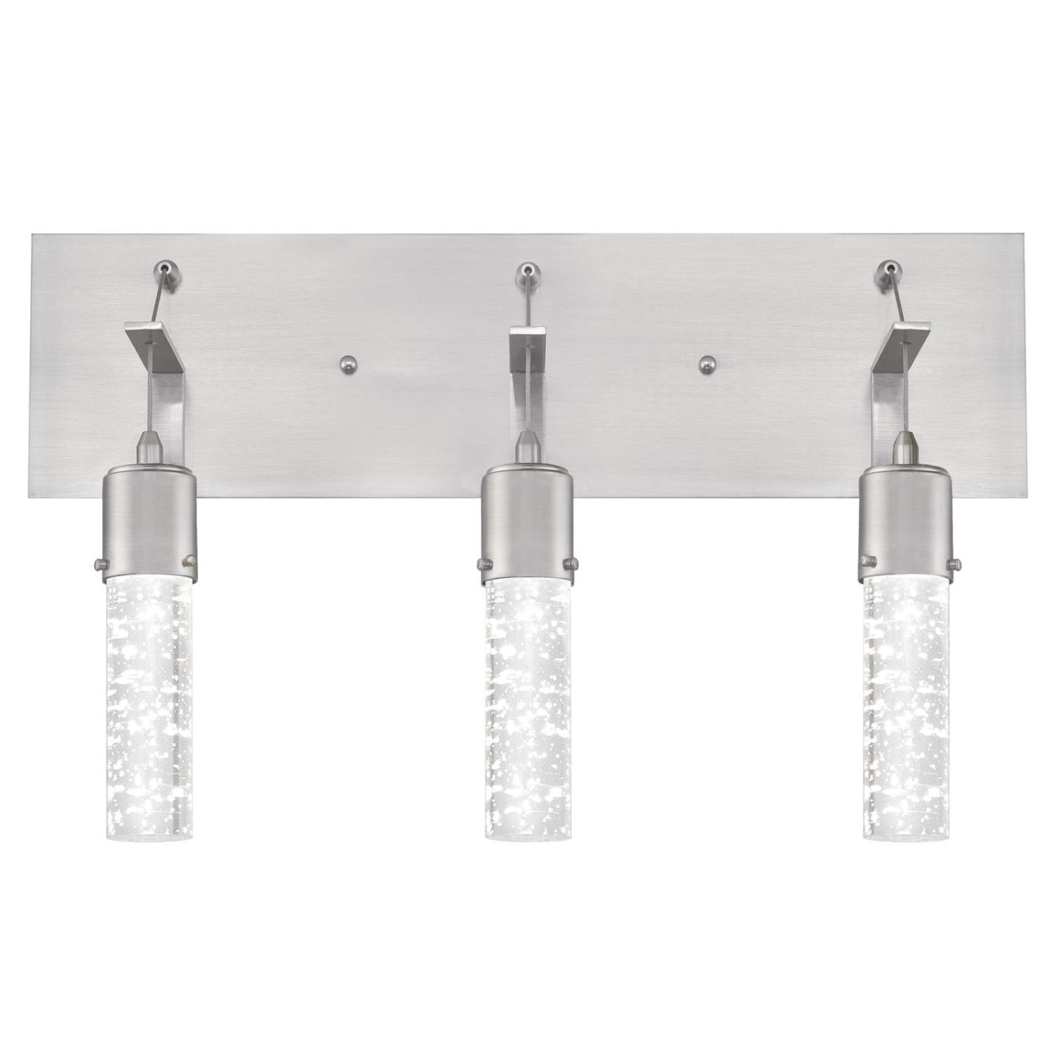 22W 3 Light LED Wall Fixture Brushed Nickel Finish with Bubble Glass
