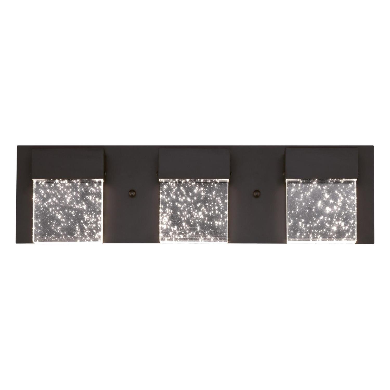 21W 3 Light LED Wall Fixture Matte Black Finish with Bubble Glass