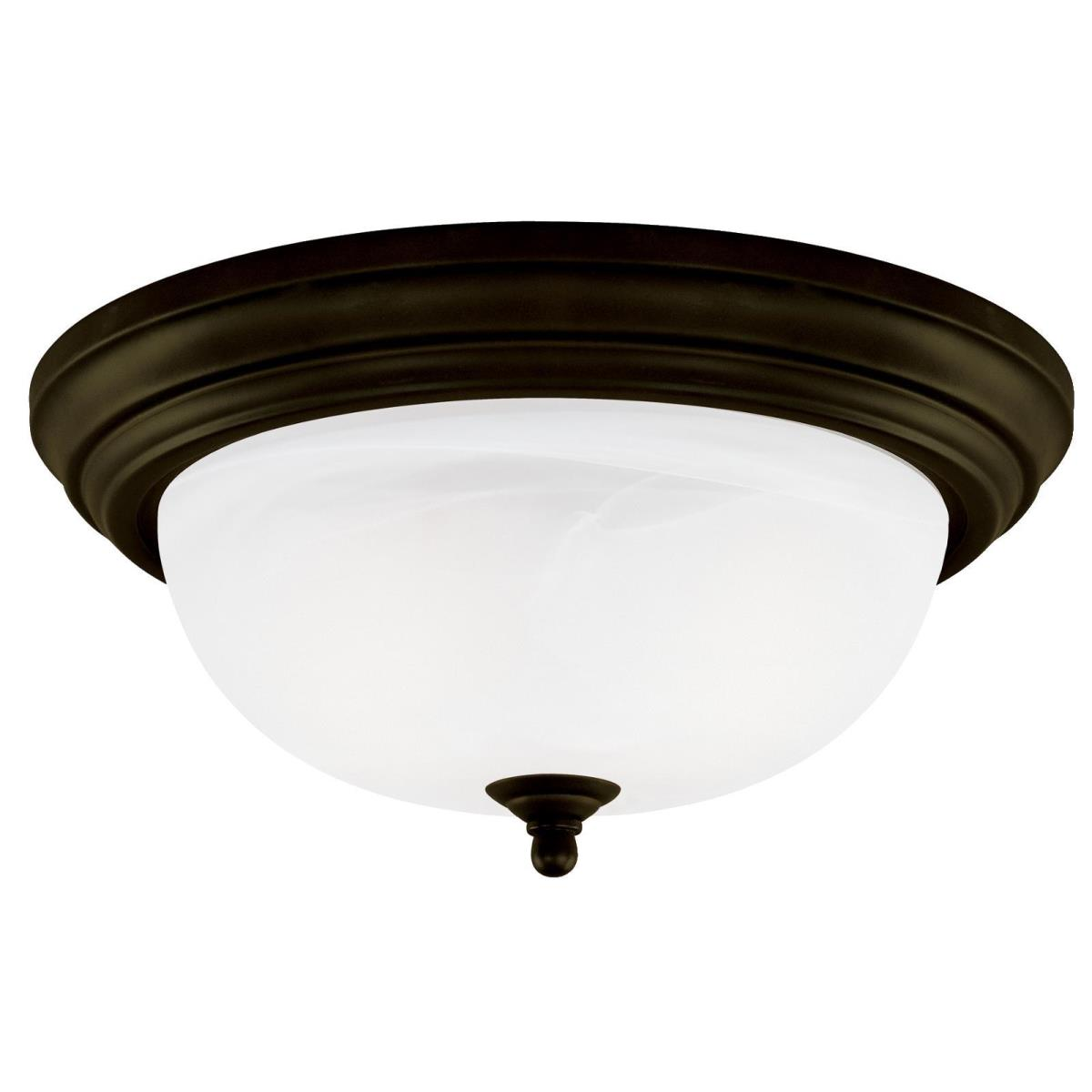 1 Light Flush Oil Rubbed Bronze Finish with Frosted White Alabaster Glass