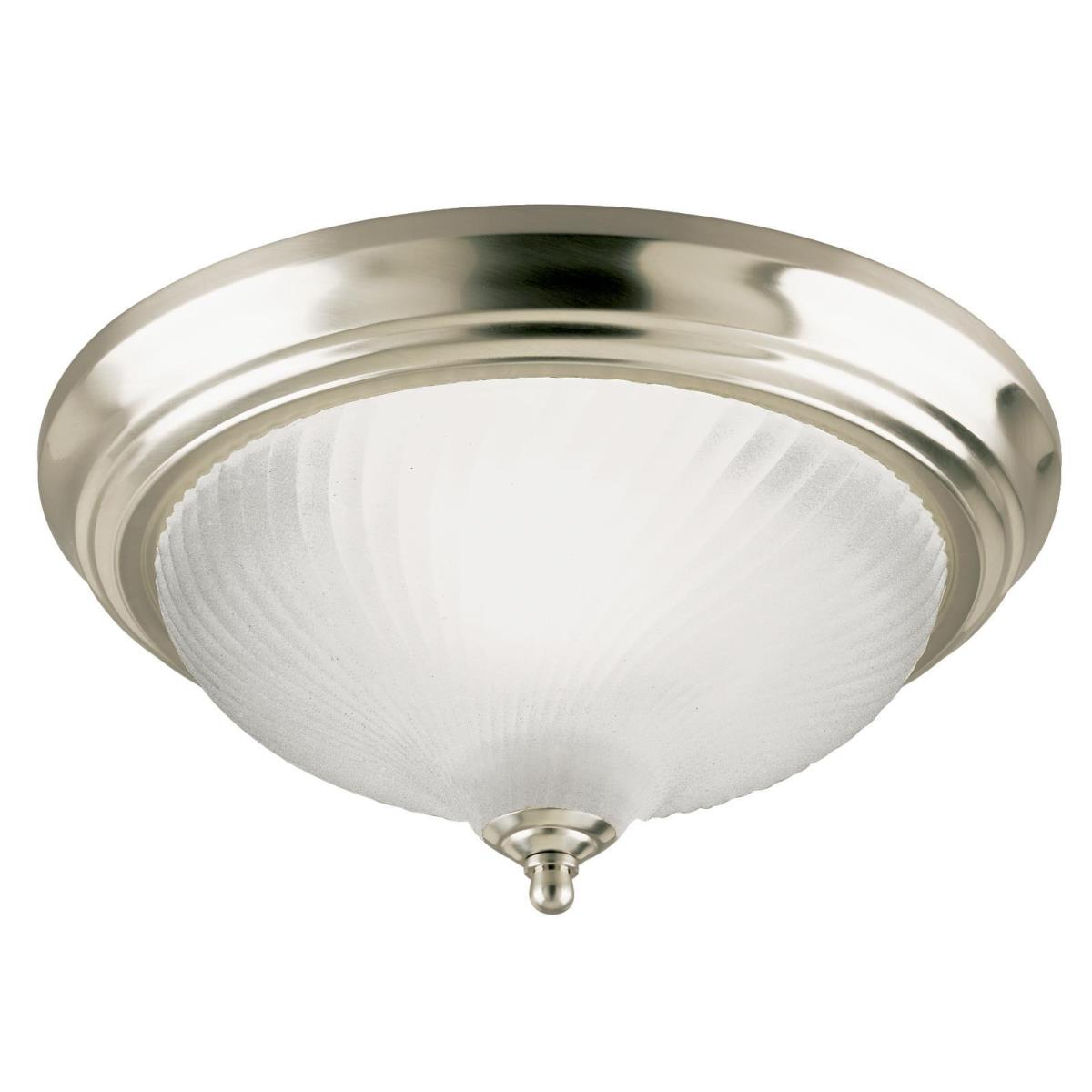 1 Light Flush Brushed Nickel Finish with Frosted Swirl Glass