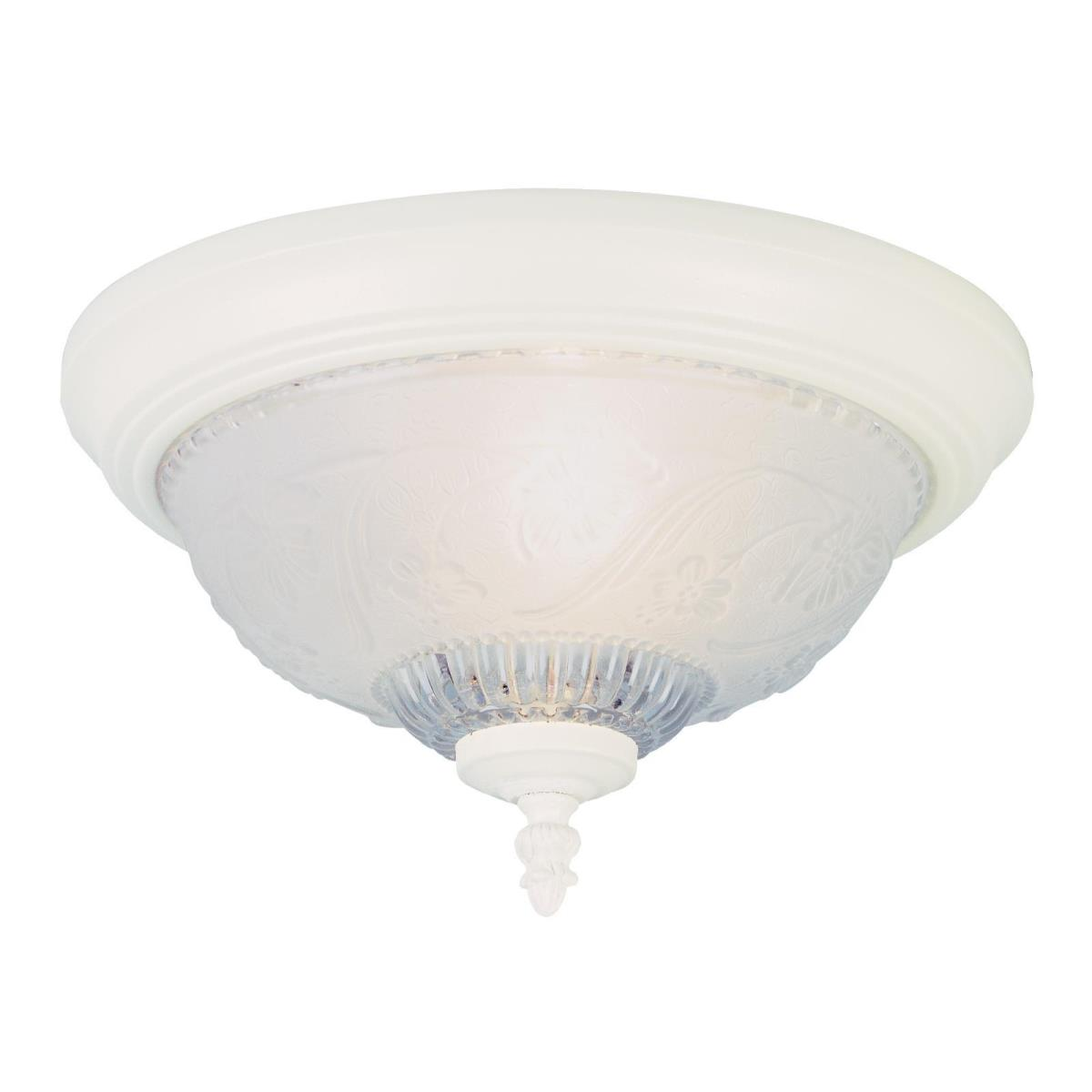 1 Light Flush Ceiling Fixture Textured White Finish with Embossed Floral and Leaf Design Glass