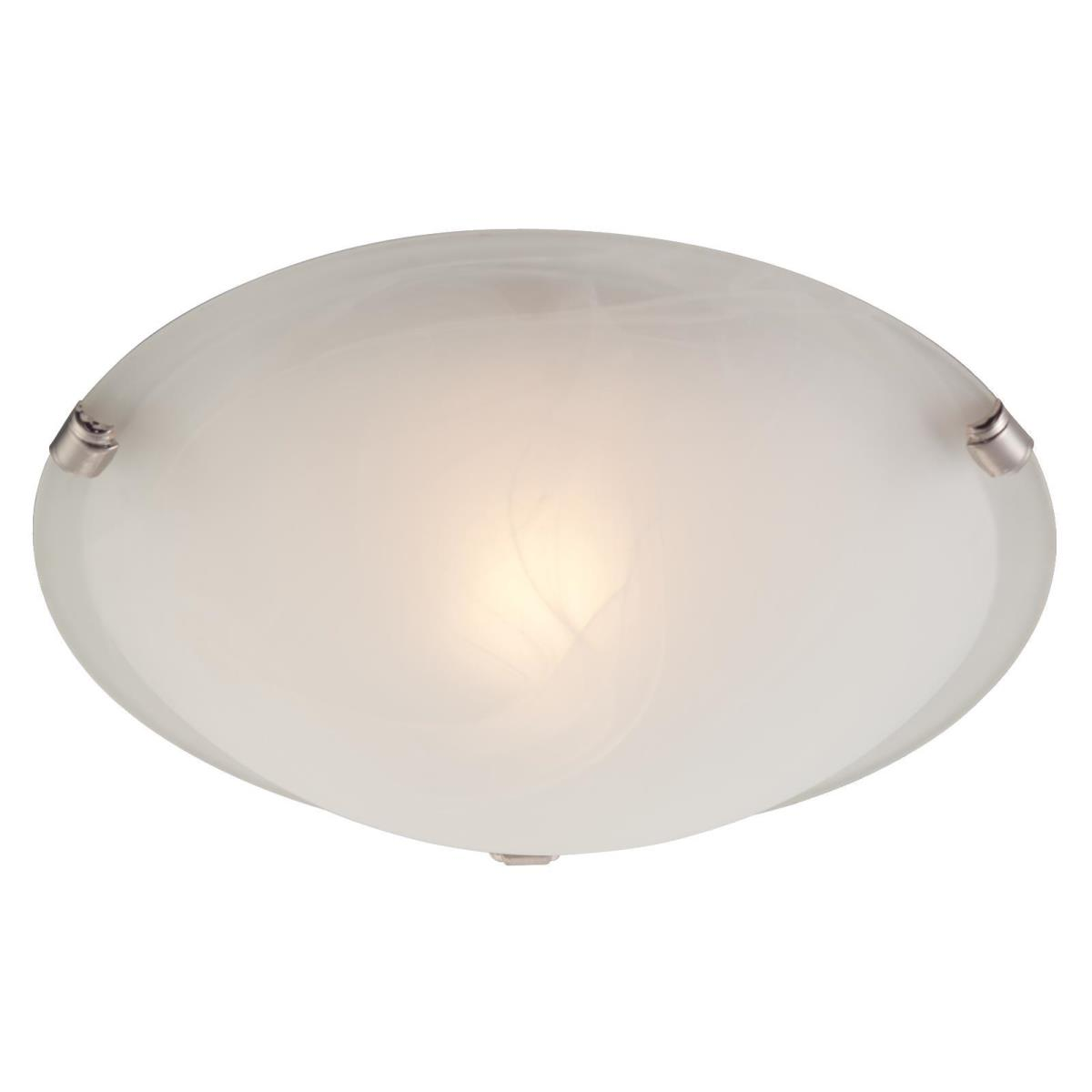 1 Light Flush White and Brushed Nickel Finish with White Alabaster Glass