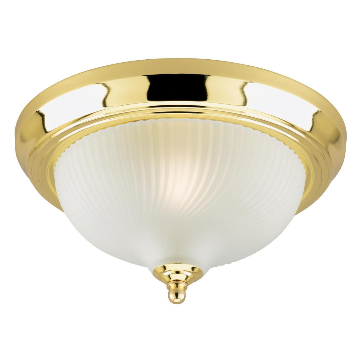 1 Light Flush Polished Brass Finish with Frosted Swirl Glass