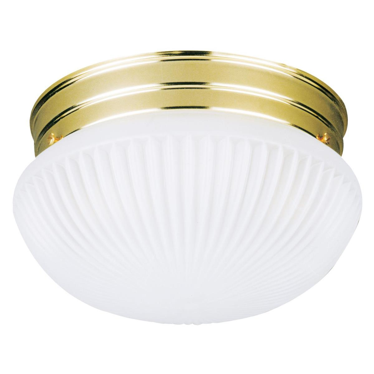 1 Light Flush Ceiling Fixture Polished Brass Finish with Satin White Ribbed Glass