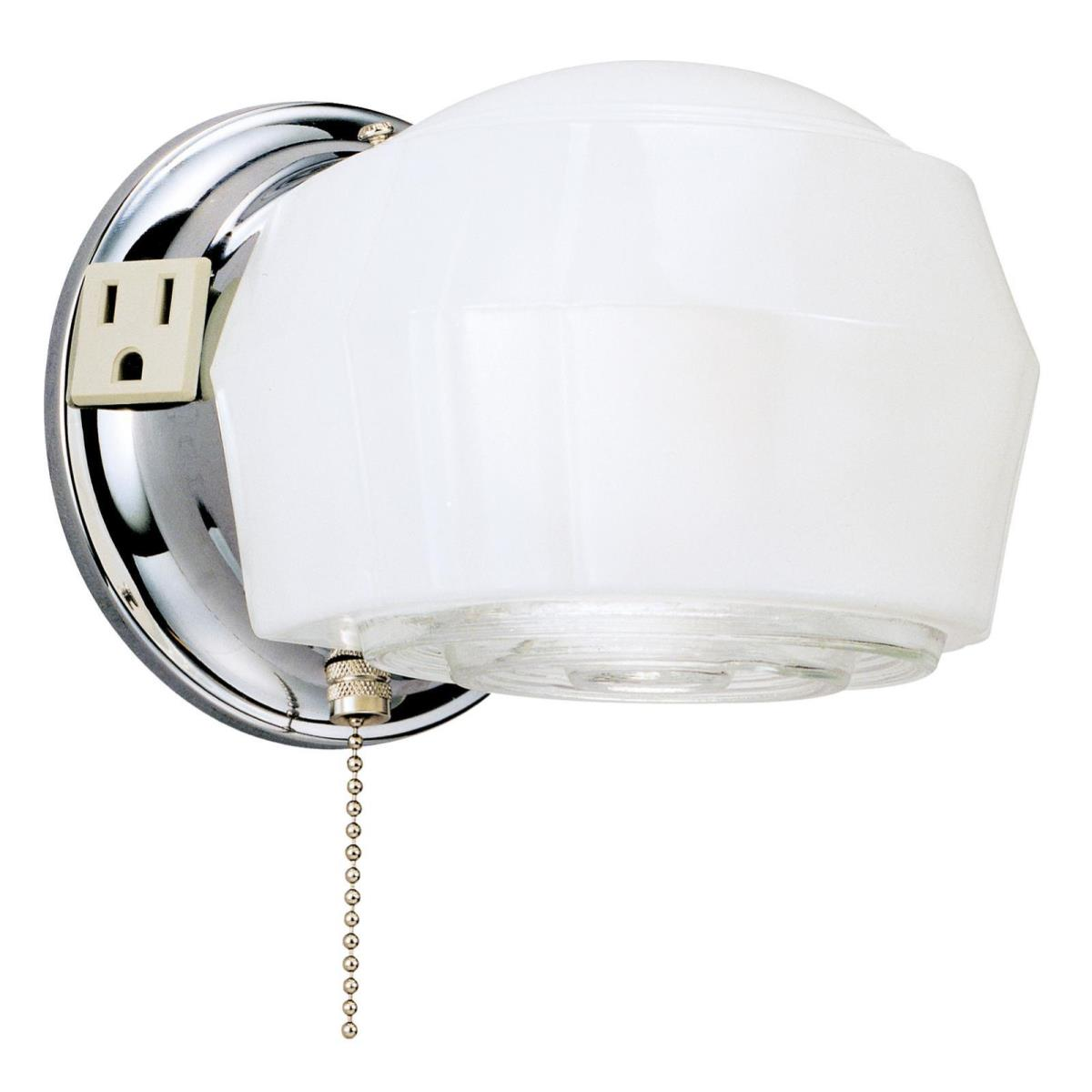 1 Light Wall with Ground Convenience Outlet and Pull Chain Chrome Finish Base with White and Crystal Glass
