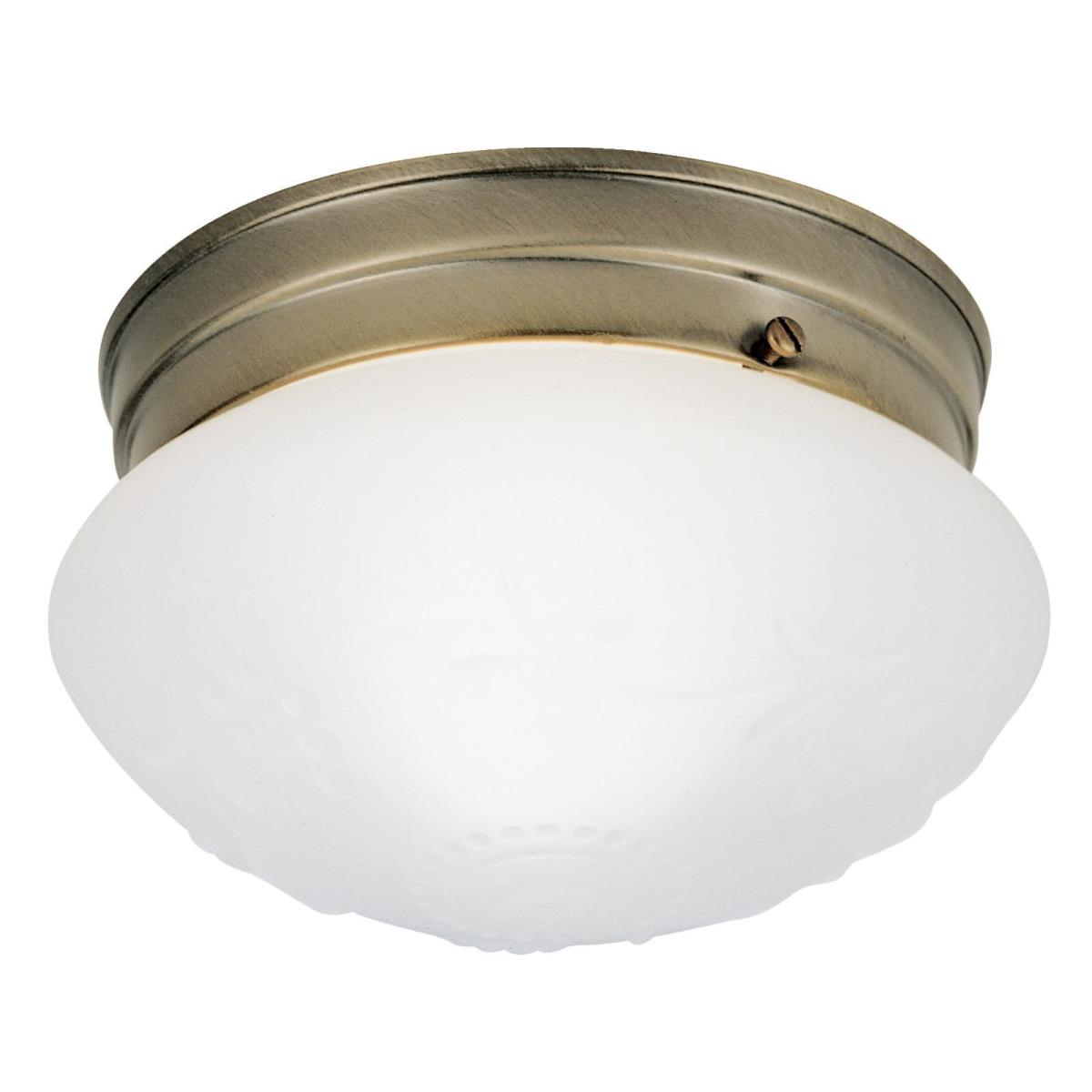 1 Light Flush Ceiling Fixture Antique Brass Finish with Satin White Glass with Design