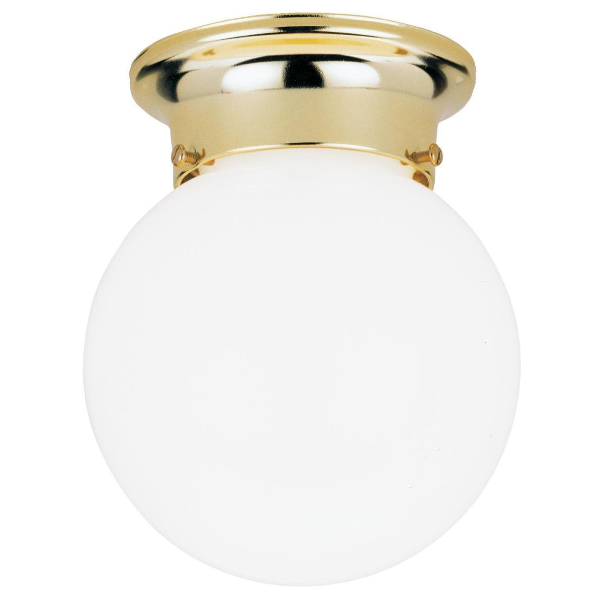 1 Light Flush Ceiling Fixture Polished Brass Finish with White Glass Globe