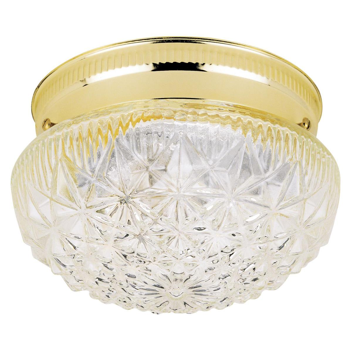 1 Light Flush Polished Brass Finish with Clear Faceted Glass