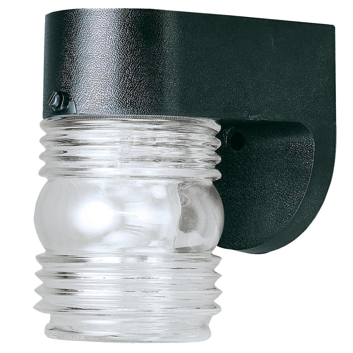 1 Light Hi-Impact Polypropylene Wall Fixture Black Finish with Clear Glass