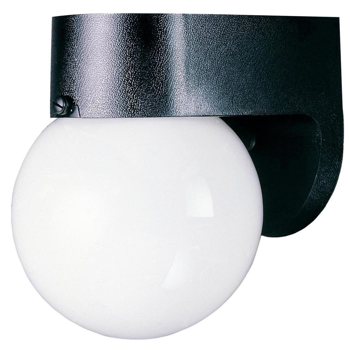 1 Light Hi-Impact Polycarbonate Wall Fixture Black Finish with White Glass Globe