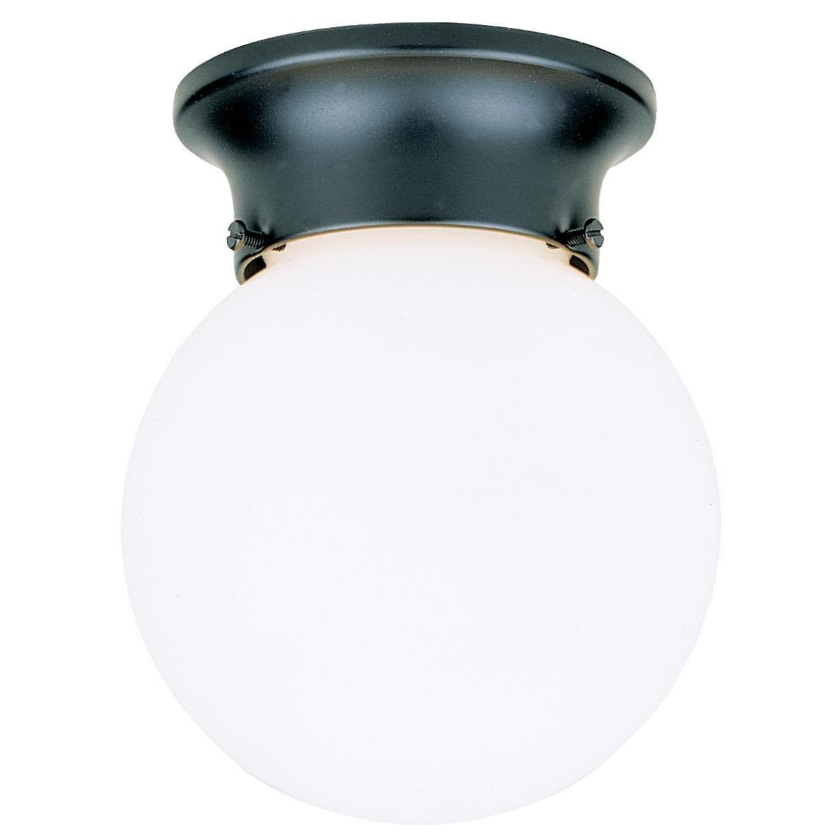 1 Light Flush Black Finish with White Glass Globe