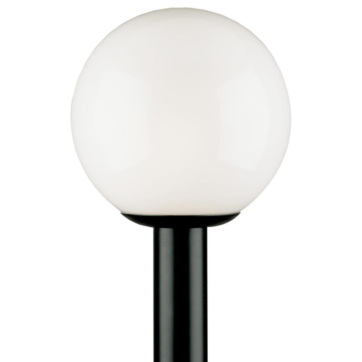 1 Light Polycarbonate Post Top Fixture Black Finish with White Acrylic Globe