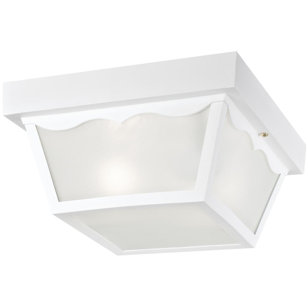 2 Light Hi-Impact Polypropylene Flush White Finish with Clear Textured Glass