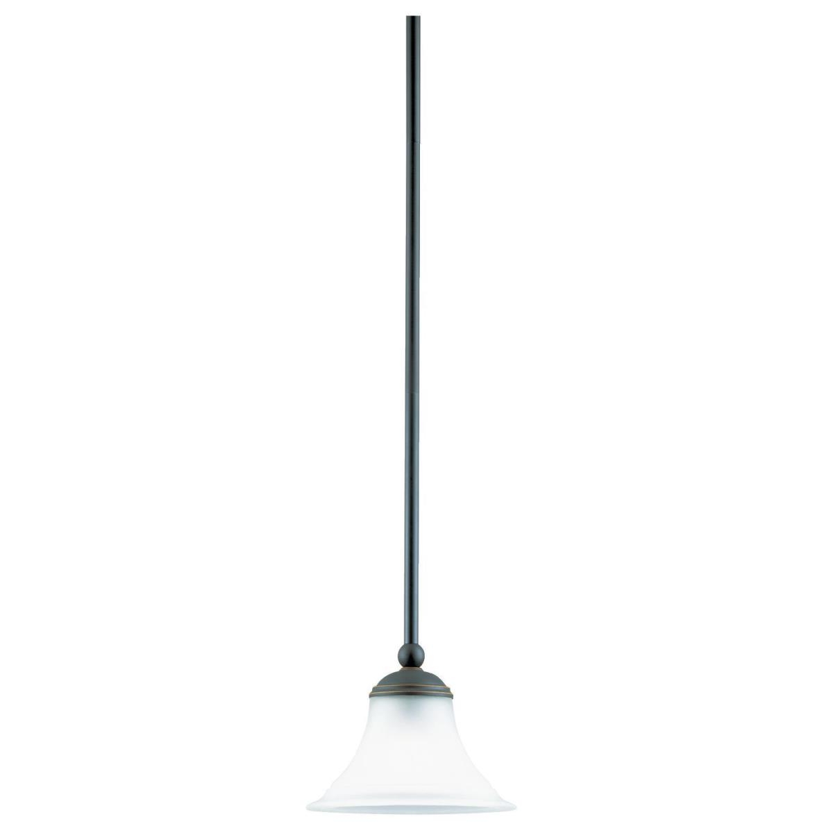1 Light Adjustable Mini Pendant Weathered Bronze Finish with Frosted Glass