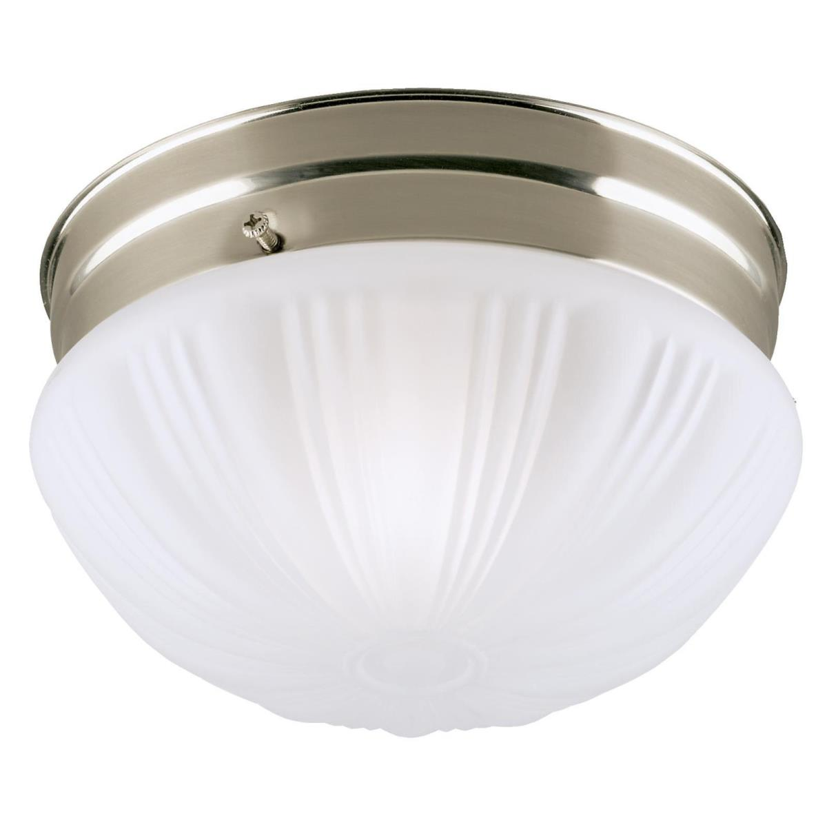 1 Light Flush Brushed Nickel Finish with Frosted Fluted Glass