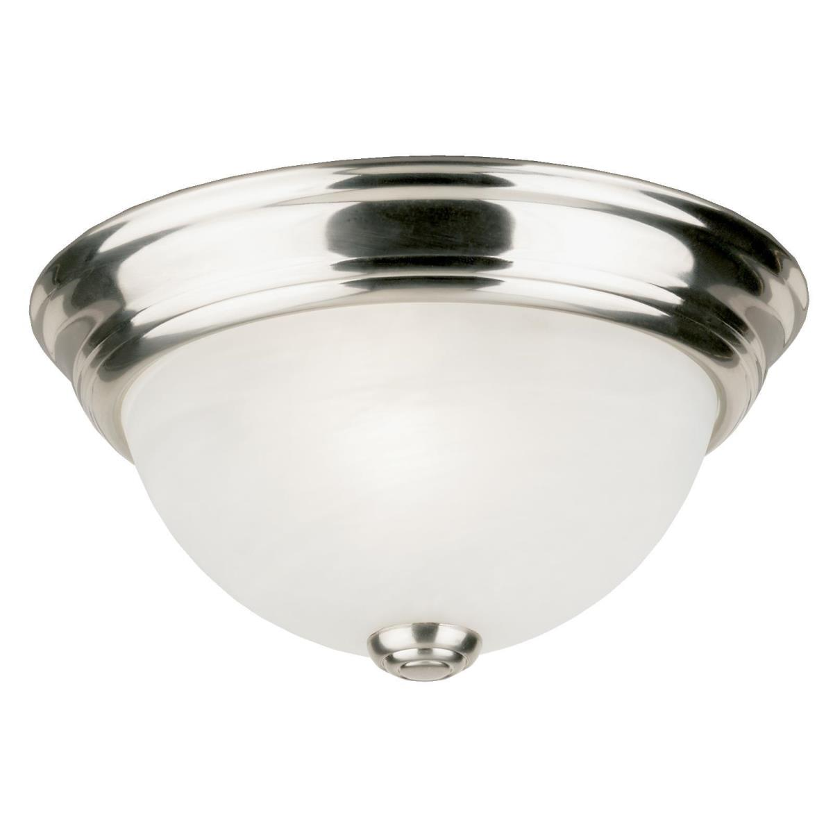 1 Light Flush Brushed Nickel Finish with Frosted White Alabaster Glass