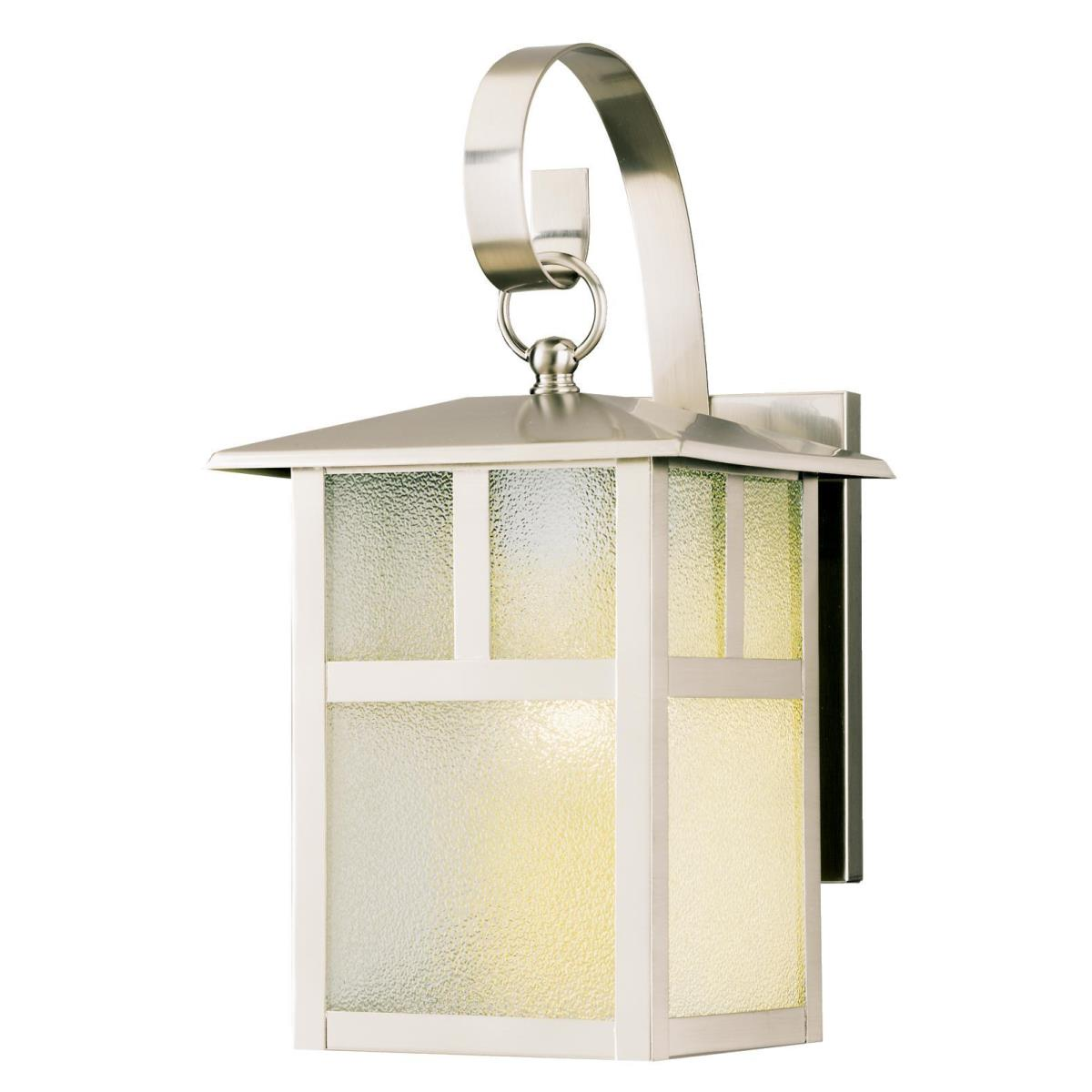 1 Light Wall Fixture Brushed Nickel Finish with Clear Textured Glass