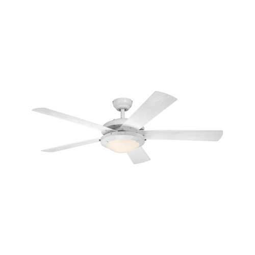 52 in. White Finish White ABS Blades Frosted Glass