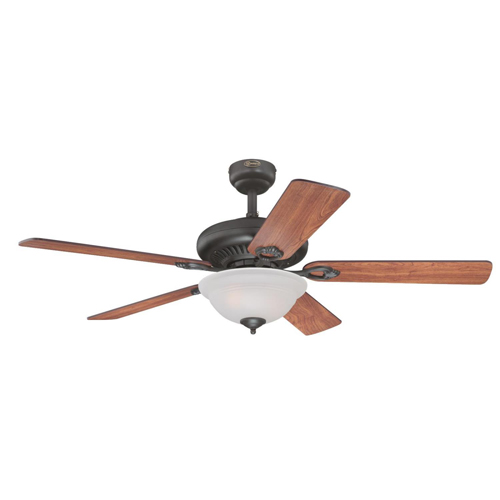 52 in. Oil Rubbed Bronze Finish Reversible Blades (Dark Cherry/Walnut) Frosted Glass