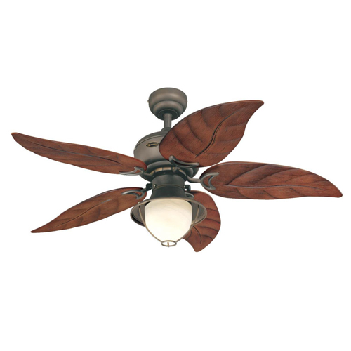 48 in. Oil Rubbed Bronze Finish Mahogany ABS Blades Yellow Alabaster Glass