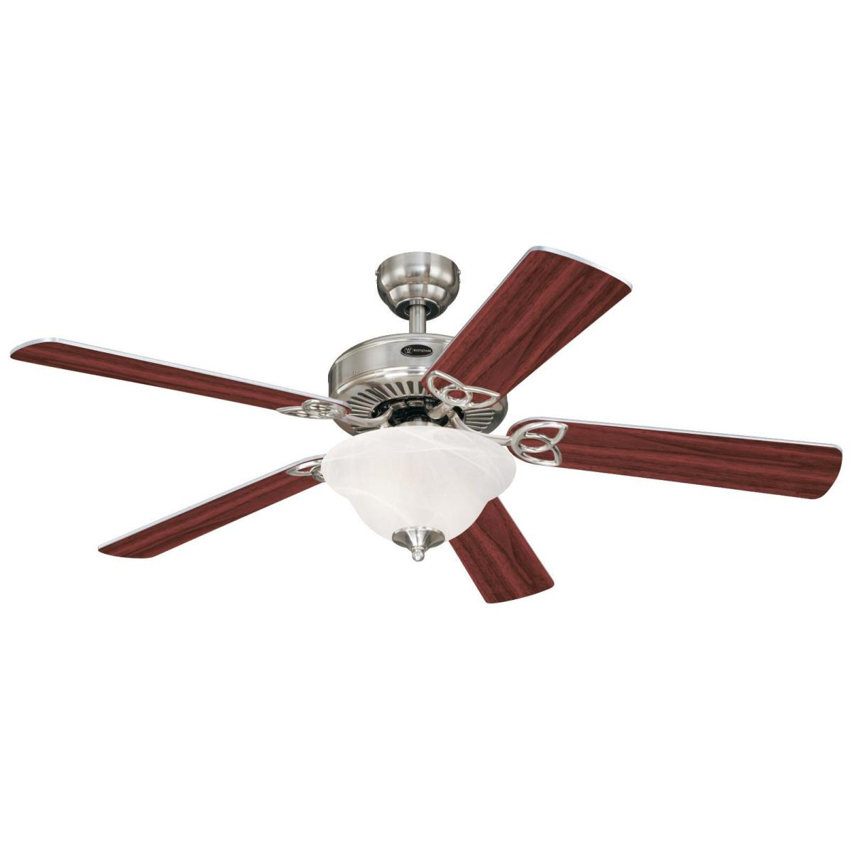 """52"""" Brushed Nickel Finish Reversible Blades (Rosewood/Light Maple) Includes Light Kit with White Alabaster Glass"""