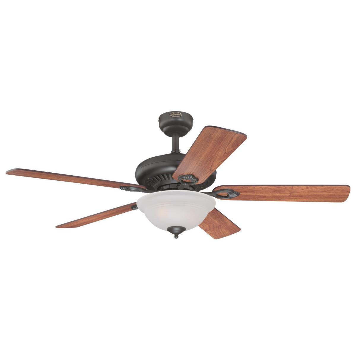 """52"""" Oil Rubbed Bronze Finish Reversible Blades (Dark Cherry/Walnut) Includes Light Kit with Frosted Glass"""