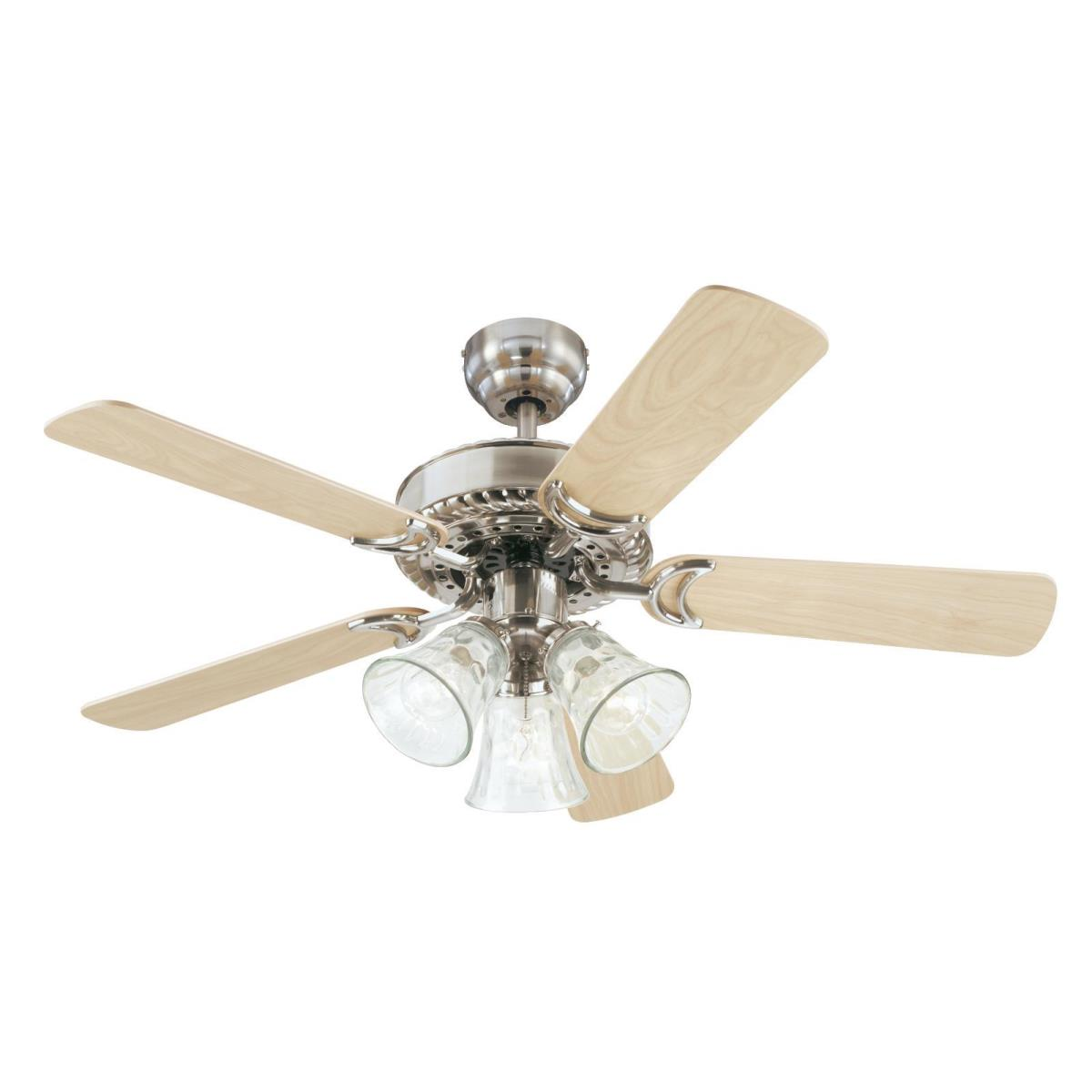 """42"""" Brushed Nickel Finish Reversible Blades (Light Maple/Bird's Eye Maple) Includes Light Kit with Water Glass Shades"""