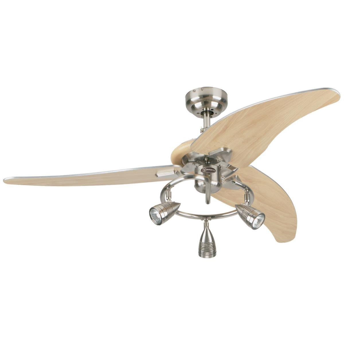 """48"""" Brushed Nickel Finish Beech Blades Includes Light Kit with Brushed Nickel Spot Lights"""