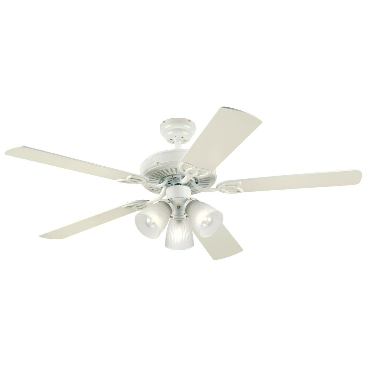 """52"""" White Finish Reversible Blades (White/White Washed Pine) Includes Light Kit with Frosted Ribbed Glass"""