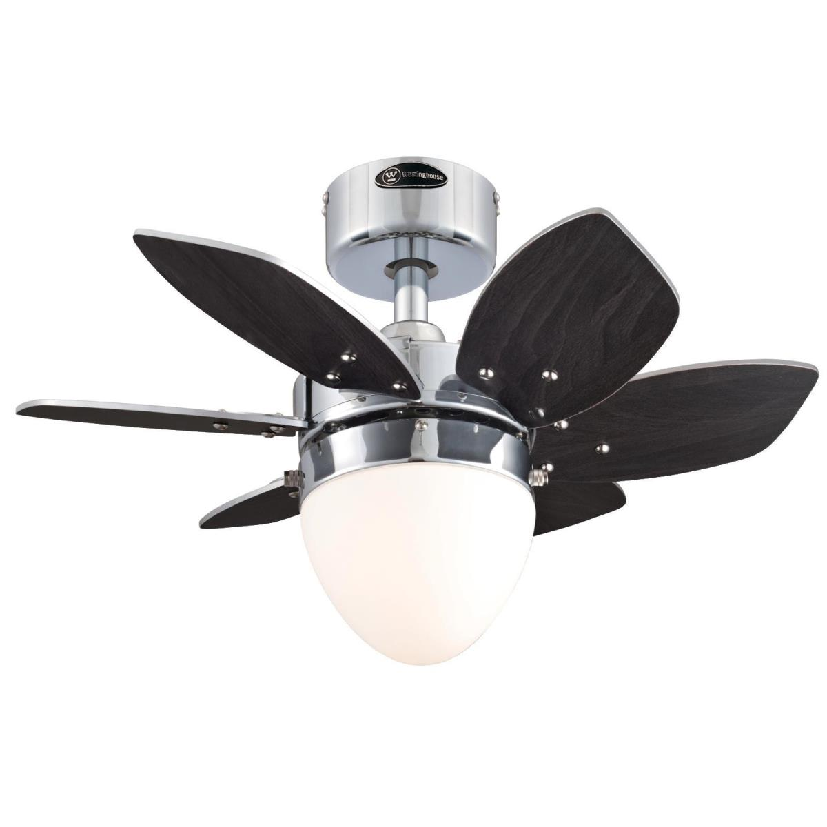 """24"""" Chrome Finish Reversible Blades (Wengue/Beech) Includes Light Kit with Opal Frosted Glass"""