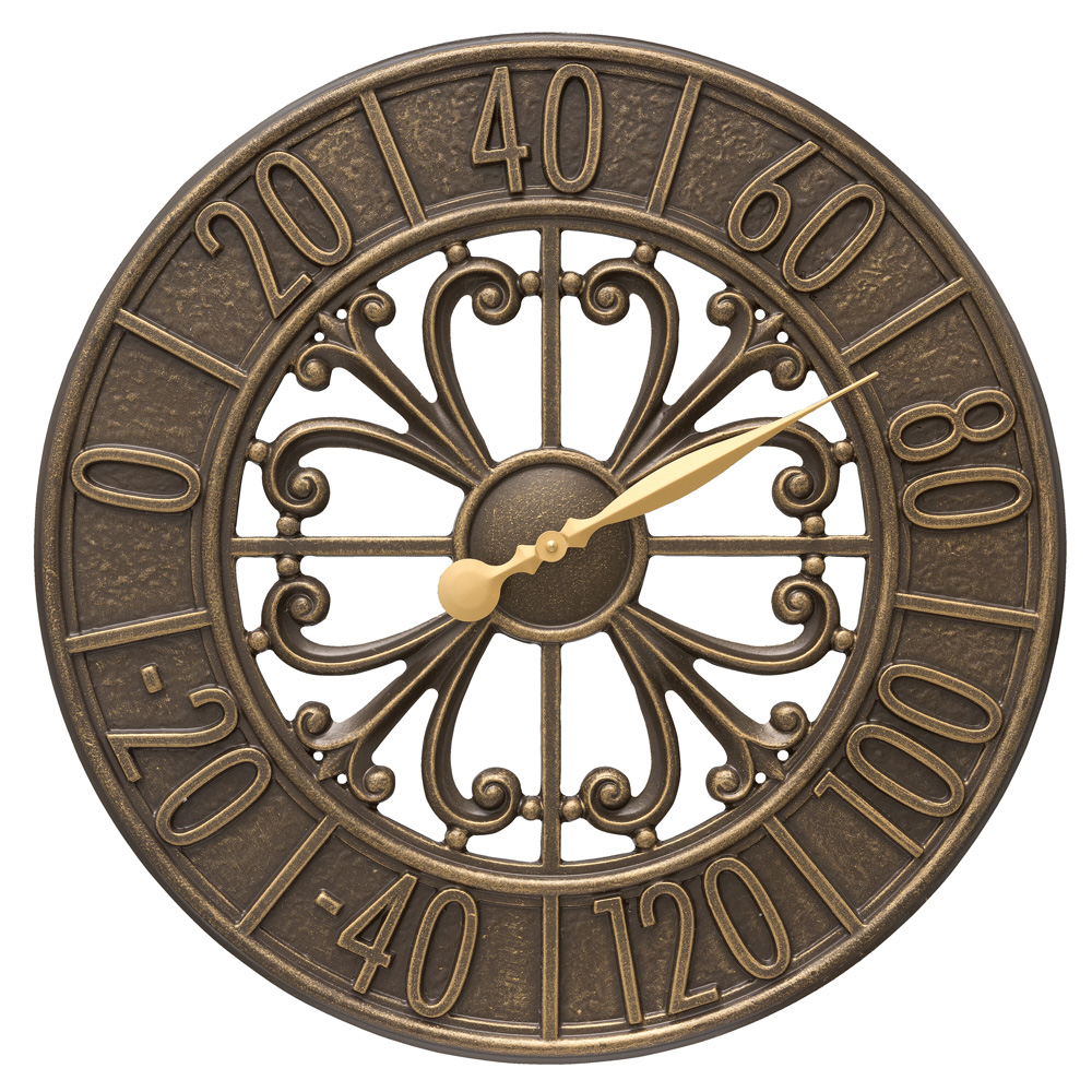 """Villanova 21"""" Indoor Outdoor Wall Thermometer, French Bronze"""