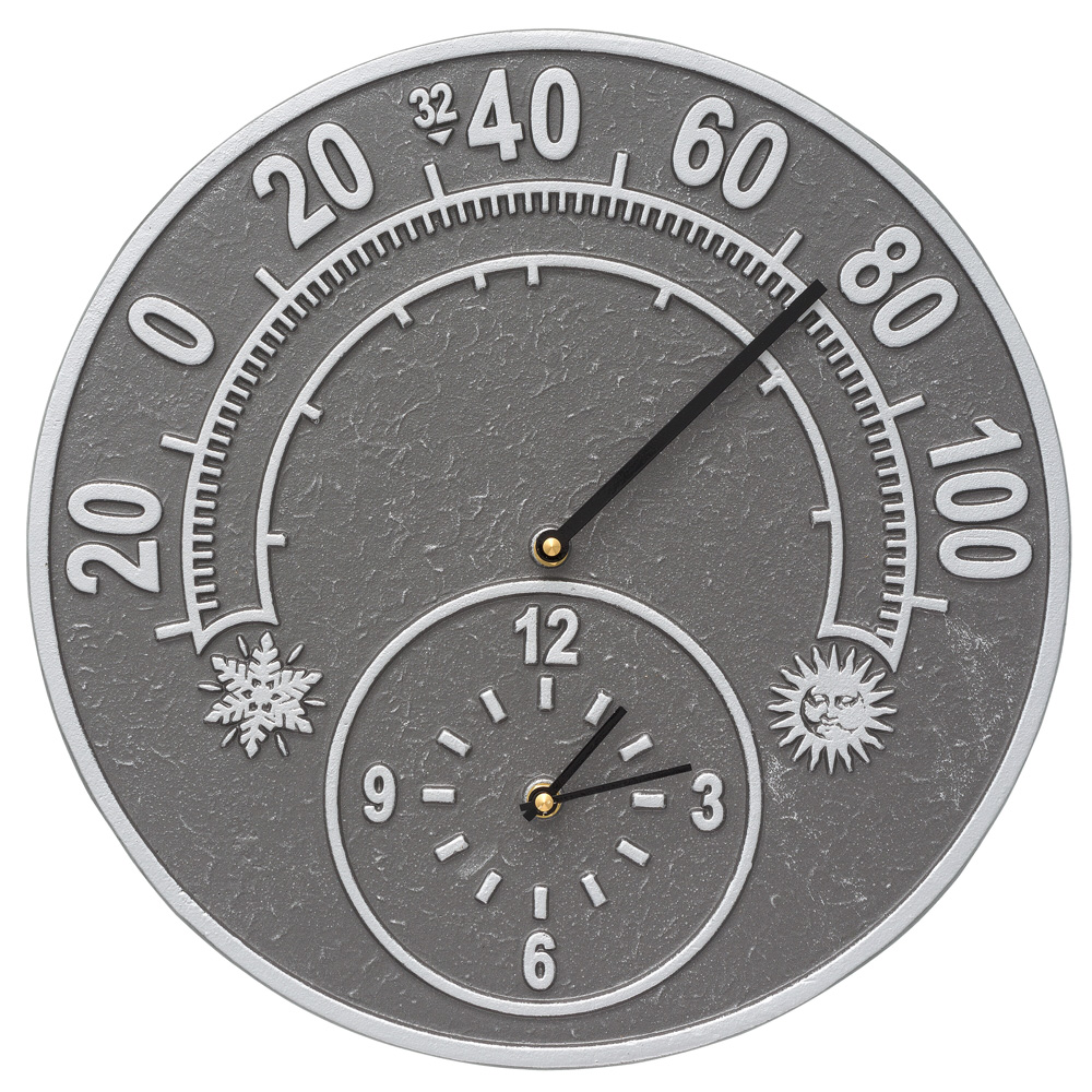 """Solstice 14"""" Indoor Outdoor Wall Clock & Thermometer, Pewter with Silver"""