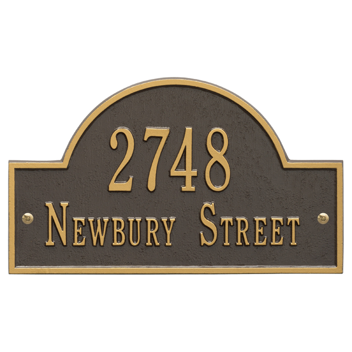 Arch Marker Plaque - Standard Wall - Two Line - Bronze with Gold Letters