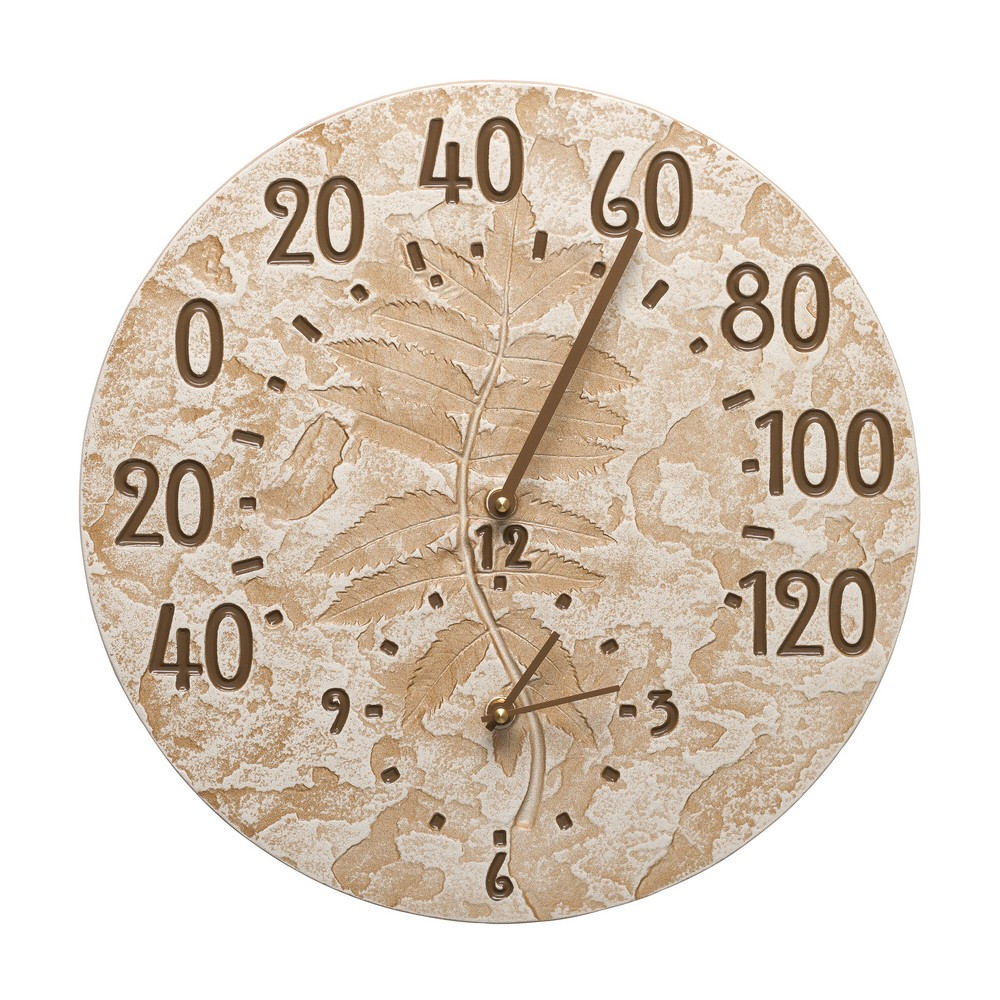 """Sumac 14"""" Indoor Outdoor Wall Clock & Thermometer, Weathered Limestone"""
