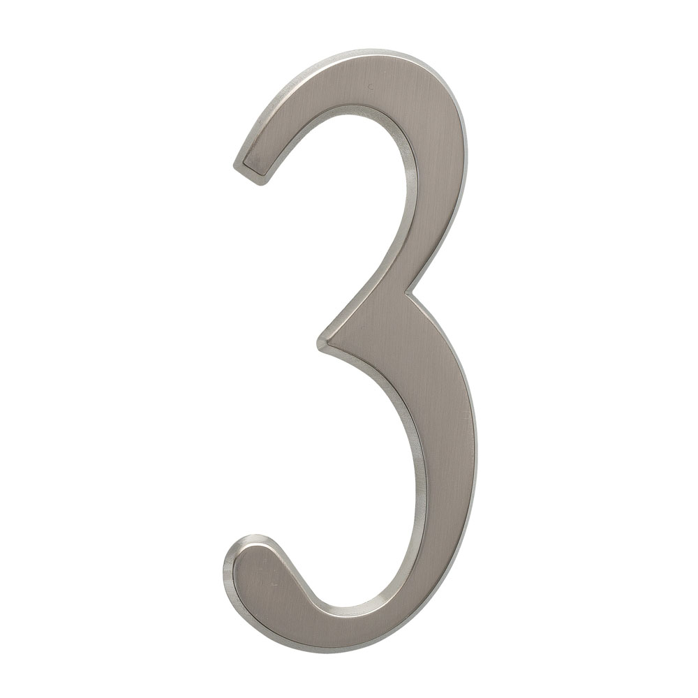"4.75"" Number 3 Brushed Nickel"