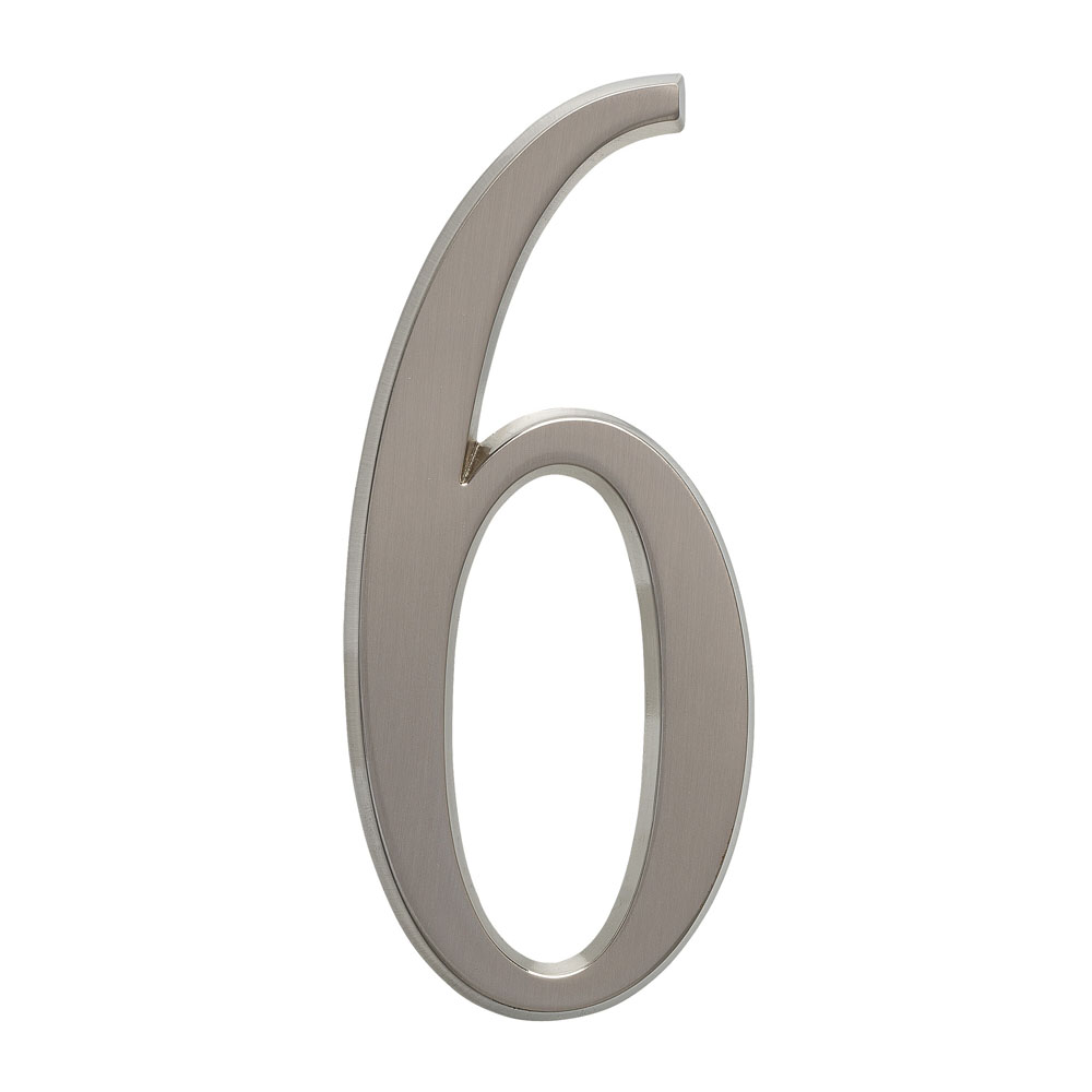"4.75"" Number 6 Brushed Nickel"
